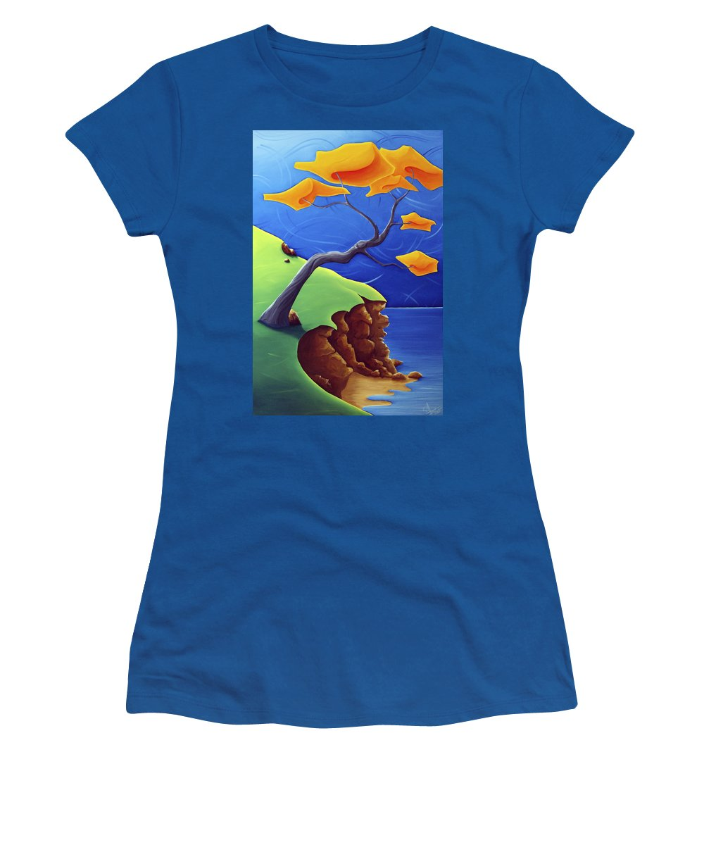 Landscape Women's T-Shirt (Athletic Fit) featuring the painting Beyond Limitations by Richard Hoedl