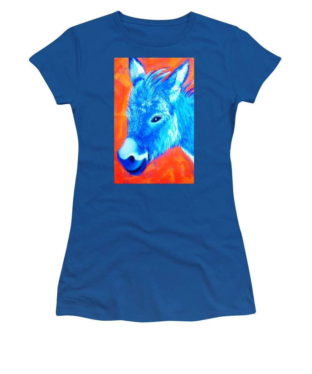 Burro Women's T-Shirt (Athletic Fit) featuring the painting Blue Burrito by Melinda Etzold