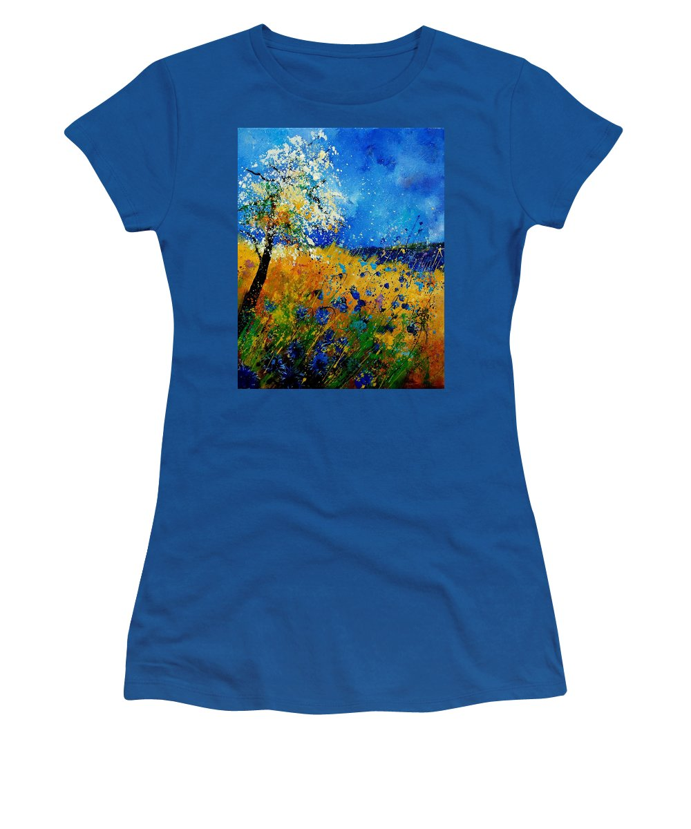 Poppies Women's T-Shirt featuring the painting Blue cornflowers 450108 by Pol Ledent