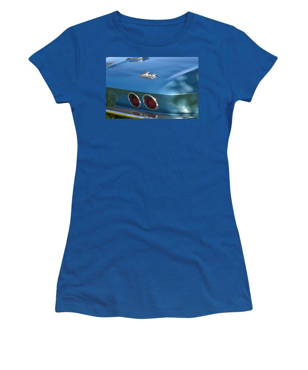 Women's T-Shirt (Athletic Fit) featuring the photograph Blue Corvette Stingray by Dean Ferreira