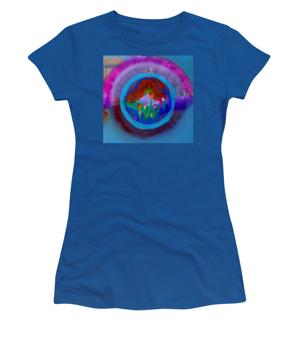 Love Women's T-Shirt (Athletic Fit) featuring the painting Blue Embrace by Charles Stuart