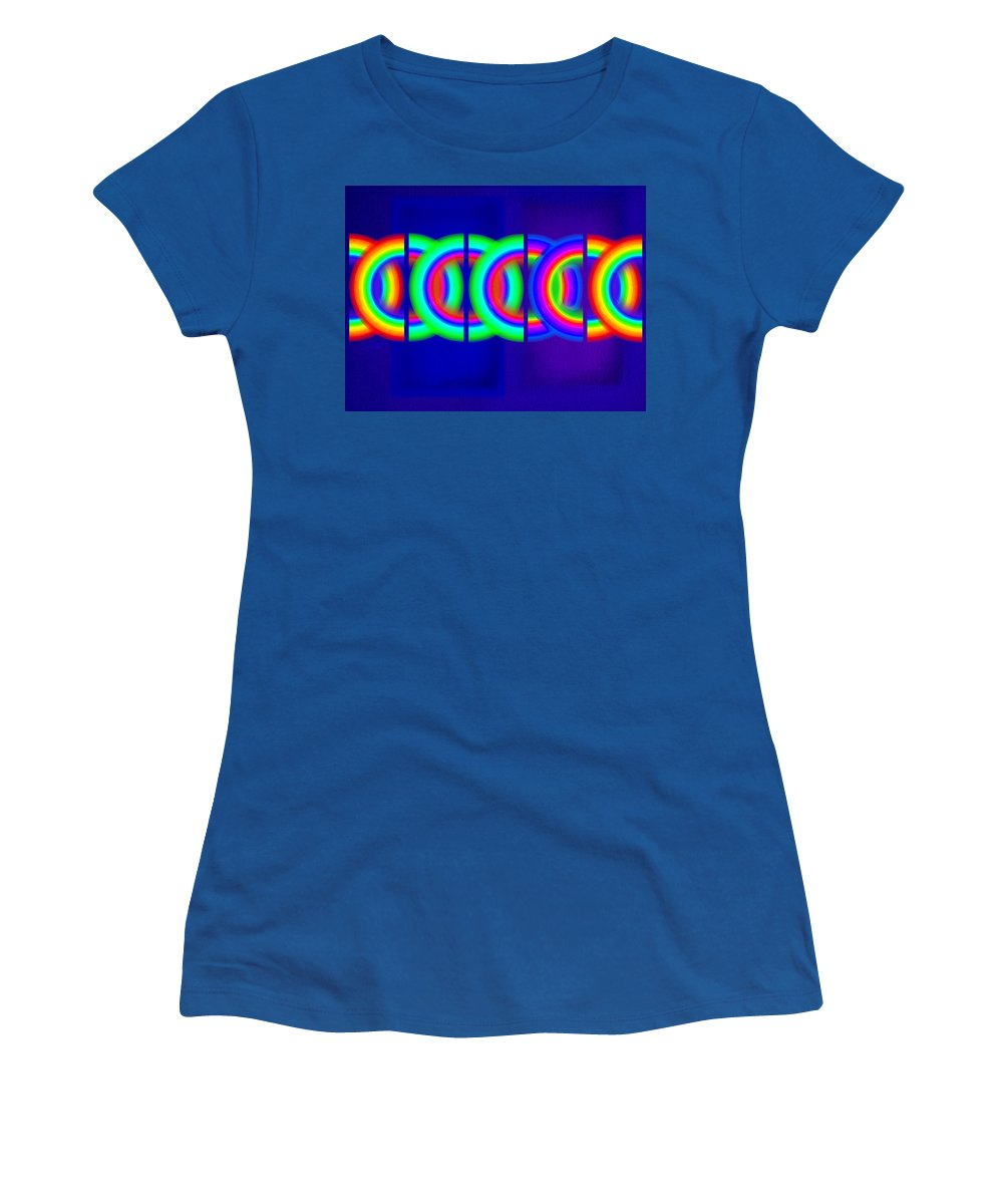 Abstract Women's T-Shirt featuring the painting Blue Games by Charles Stuart
