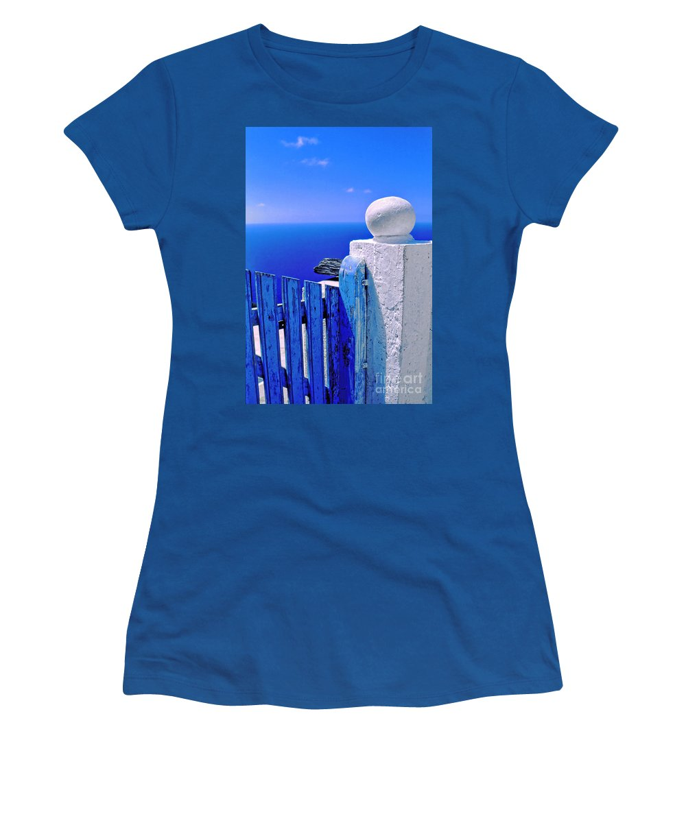 Blue Women's T-Shirt featuring the photograph Blue Gate by Silvia Ganora