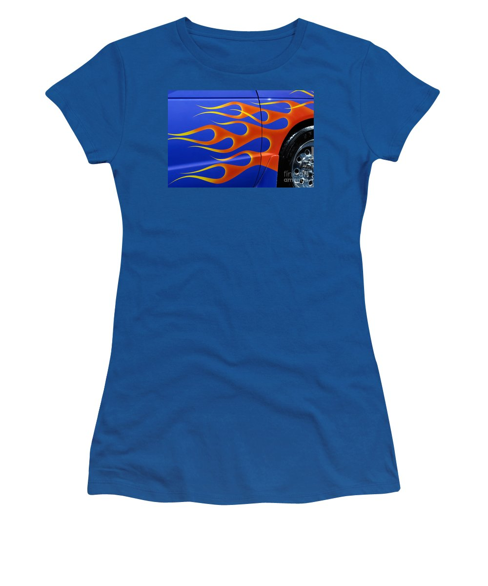 Hot Rod Women's T-Shirt featuring the photograph Blue Hot Rod Closeup by Oleksiy Maksymenko