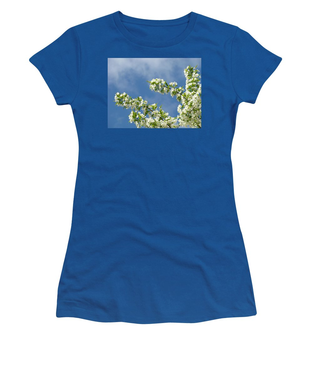 Blossom Women's T-Shirt featuring the photograph Blue Sky White Clouds Landscape Art White Tree Blossoms Spring by Baslee Troutman