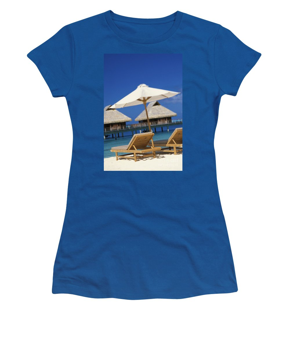 Above Women's T-Shirt featuring the photograph Bora Bora, Beach by Kyle Rothenborg - Printscapes