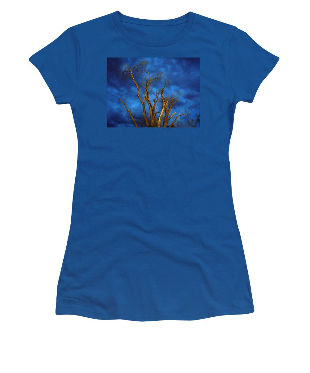 Blue Women's T-Shirt (Athletic Fit) featuring the photograph Branches Against Night Sky H by Heather Kirk