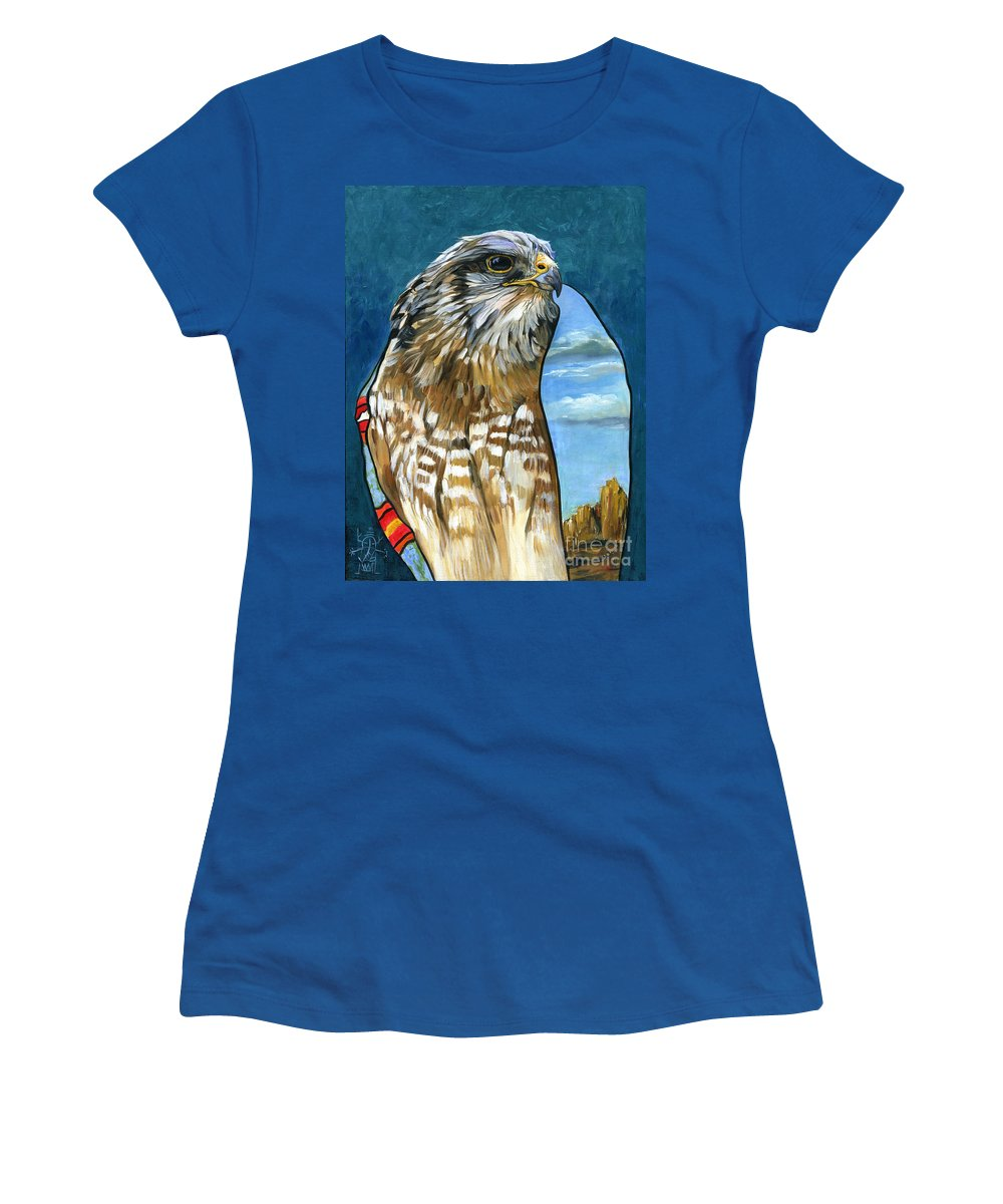 Hawk Women's T-Shirt (Athletic Fit) featuring the painting Brother Hawk by J W Baker