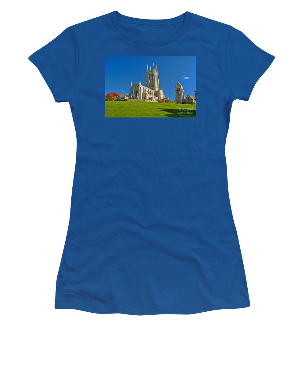 Bryn Athyn Cathedral Women's T-Shirt (Athletic Fit) featuring the photograph Bryn Athyn Cathedral Pennsylvania by David Zanzinger