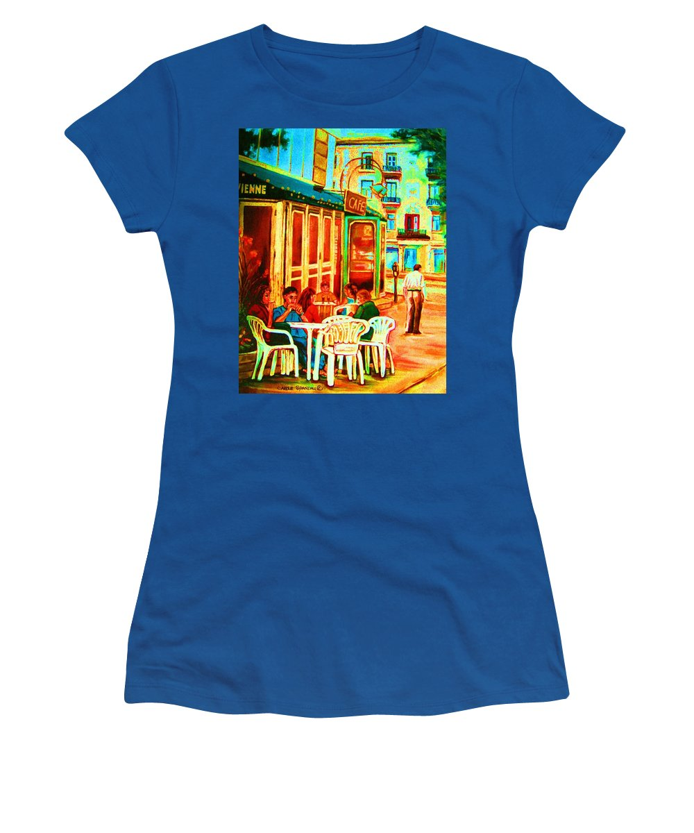 Cafes Women's T-Shirt featuring the painting Cafe Vienne by Carole Spandau