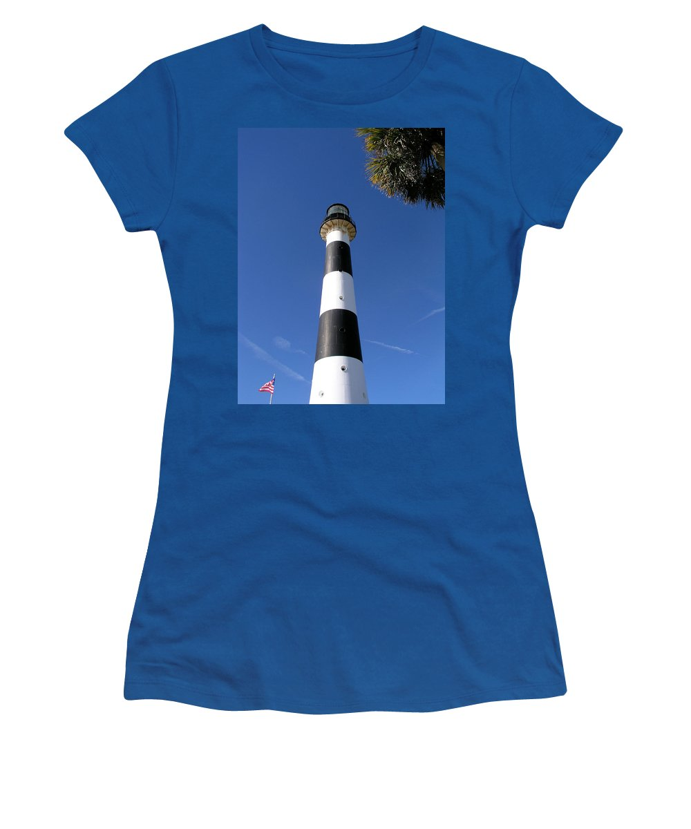 Cape; Canaveral; Light; Lighthouse; Lighthousekeeper; Keeper; Stairs; Kennedy; Space; Center; Air; F Women's T-Shirt (Athletic Fit) featuring the photograph Canaveral Light by Allan Hughes