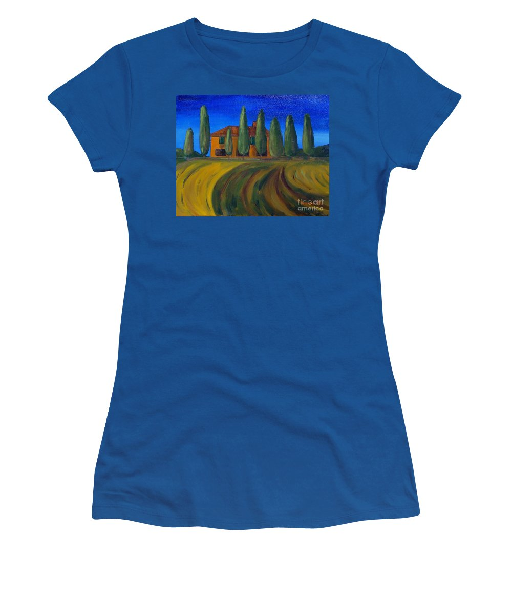 Tuscany Women's T-Shirt (Athletic Fit) featuring the painting Classic Tuscan Sunset by Laurie Morgan