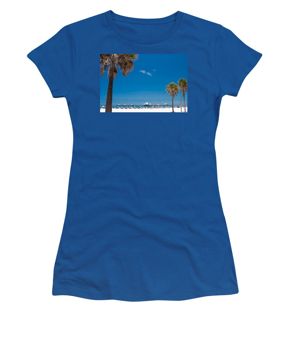 3scape Photos Women's T-Shirt (Athletic Fit) featuring the photograph Clearwater Beach by Adam Romanowicz