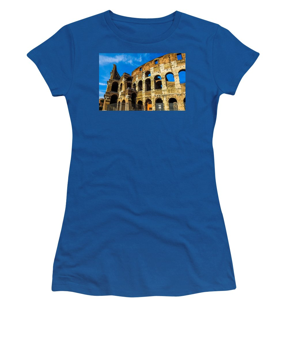 Italy Women's T-Shirt featuring the photograph Colosseum In Rome Italy by Marilyn Burton