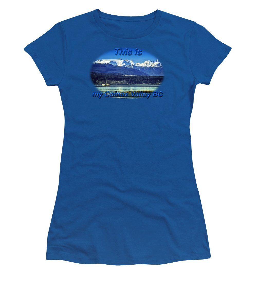 Comox Glacier Women's T-Shirt featuring the digital art Comox Glacier And Herring Boat by Richard Farrington