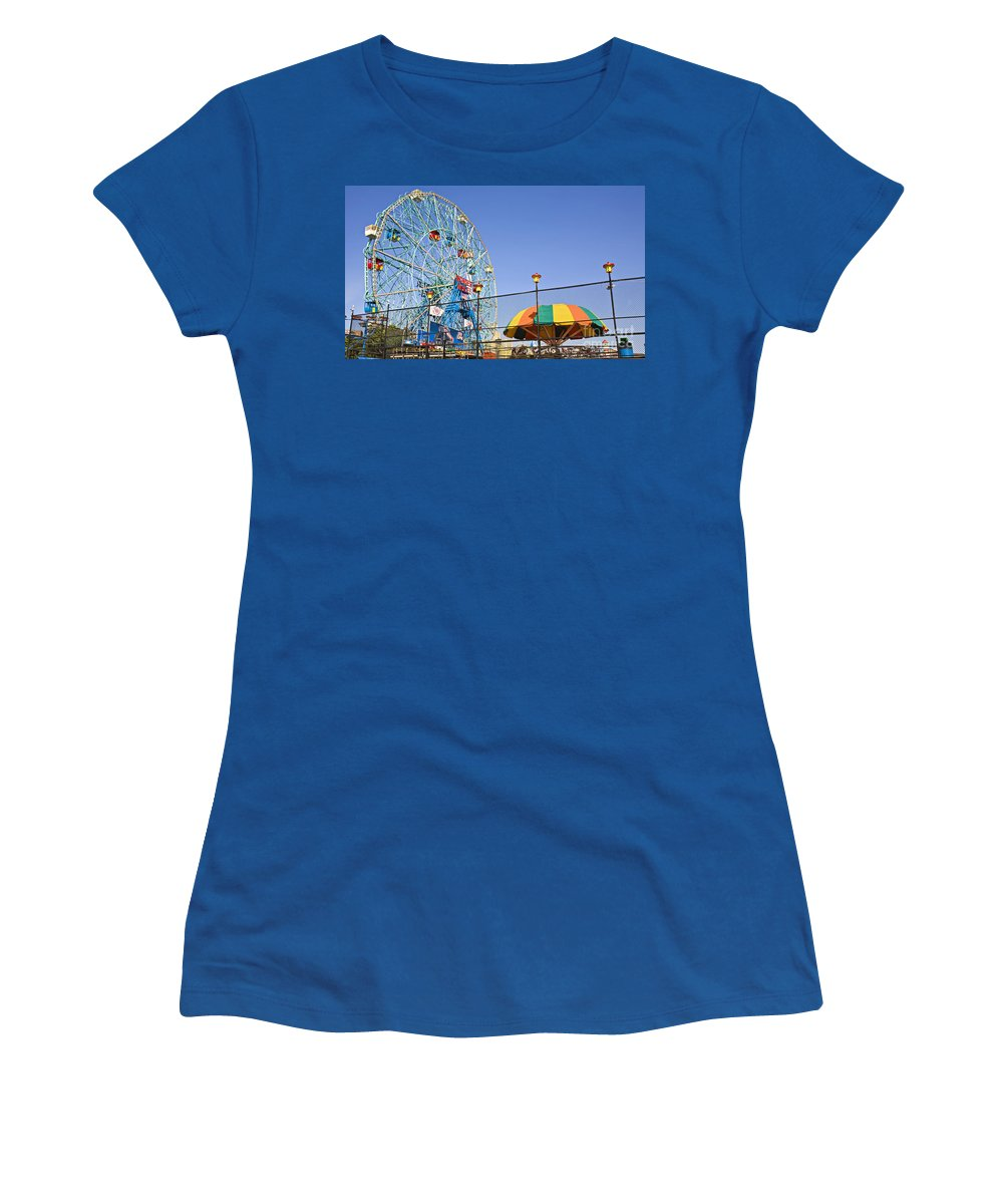 Coney Island Women's T-Shirt (Athletic Fit) featuring the photograph Coney Island Memories 6 by Madeline Ellis