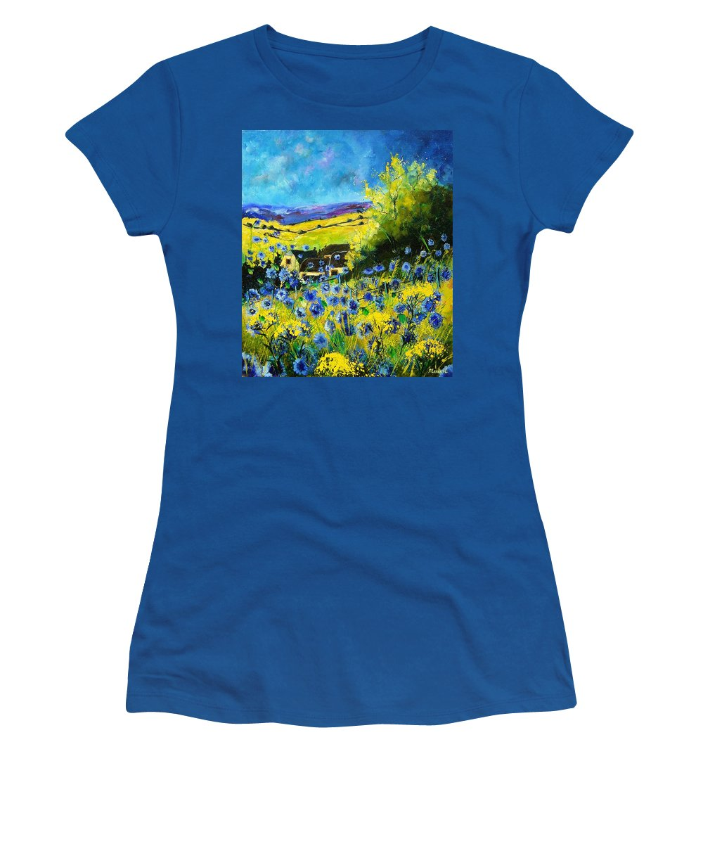 Flowers Women's T-Shirt featuring the painting Cornflowers In Ver by Pol Ledent