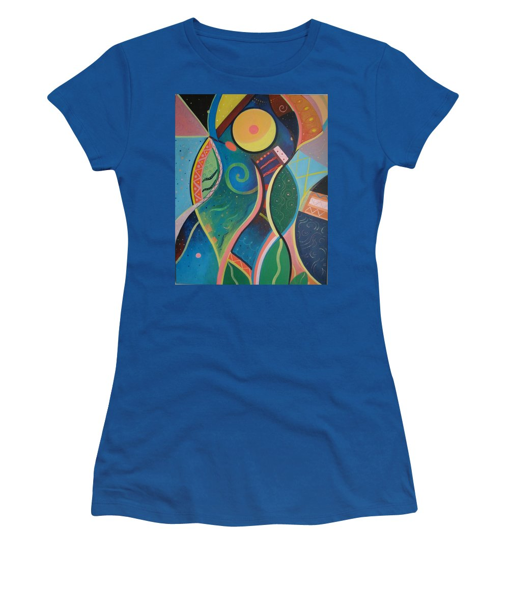 Abstract Women's T-Shirt featuring the painting Cosmic Carnival V Aka The Dance by Helena Tiainen