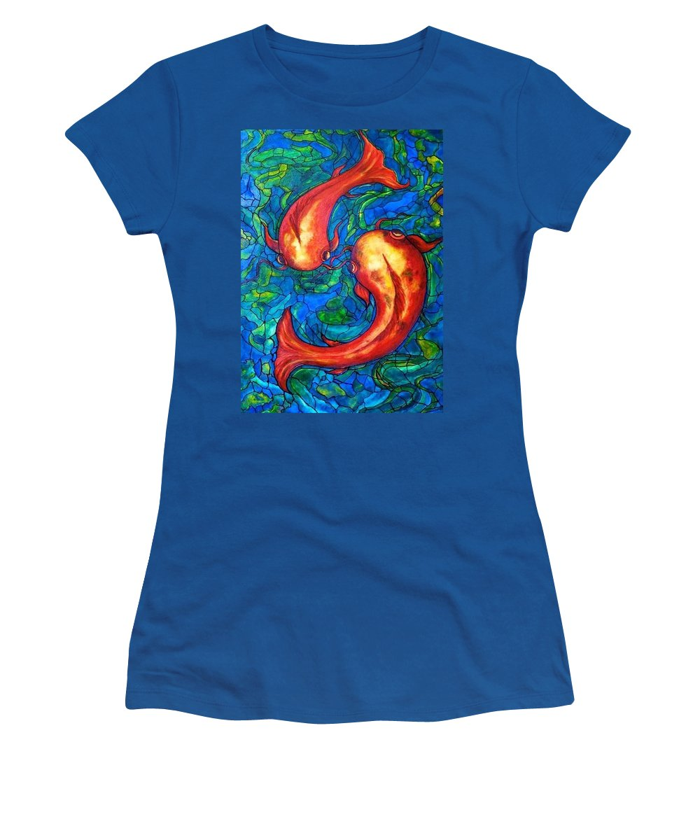 Original Painting Women's T-Shirt (Athletic Fit) featuring the painting Courtship by Rae Chichilnitsky