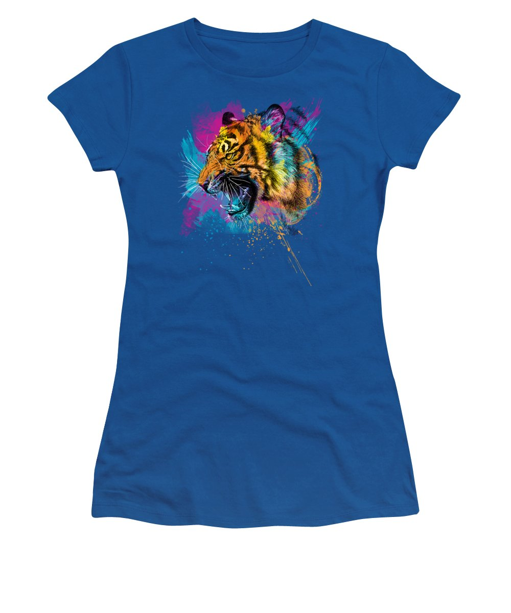 Tiger Women's T-Shirt featuring the digital art Crazy Tiger by Olga Shvartsur