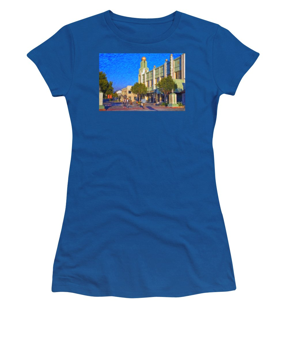 Culver City Plaza Theaters Los Angeles California Women's T-Shirt (Athletic Fit) featuring the photograph Culver City Plaza Theaters  by David Zanzinger