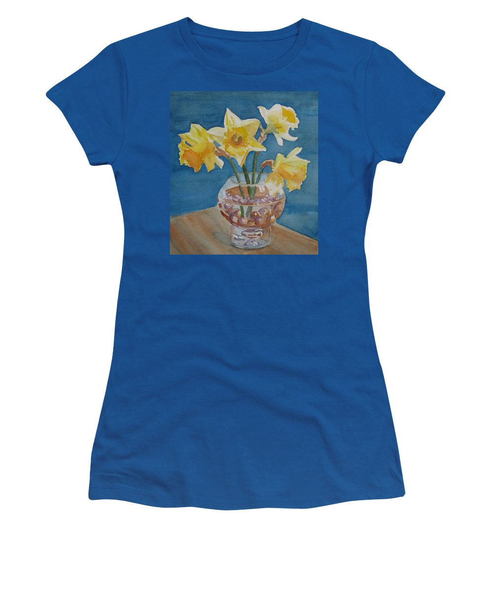 Daffodils Women's T-Shirt featuring the painting Daffodils And Marbles by Jenny Armitage