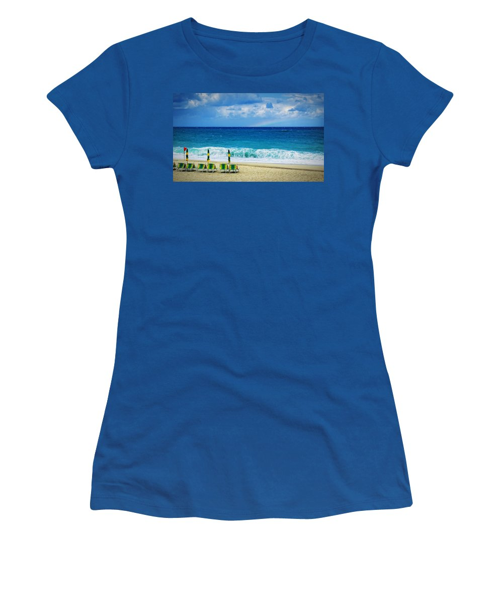 Deck Chairs Women's T-Shirt featuring the photograph Deck Chairs And Distant Rainbow by Silvia Ganora