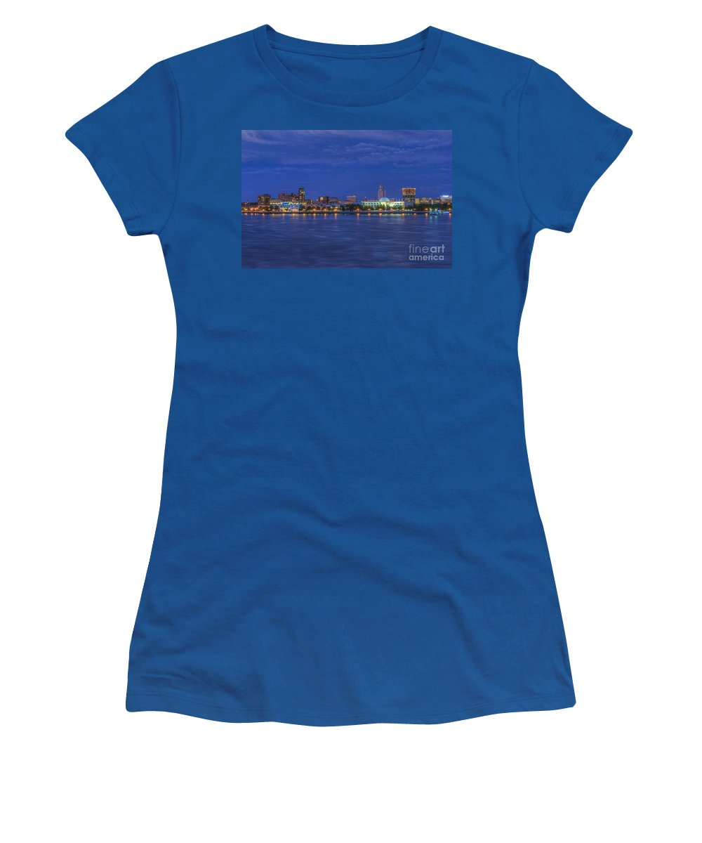 Camden Nj From Women's T-Shirt (Athletic Fit) featuring the photograph Delaware River Camden Cityscape by David Zanzinger