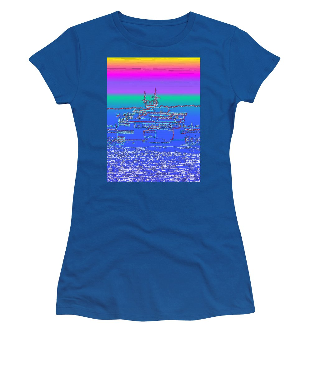 Digital Photo Manipulation Women's T-Shirt (Athletic Fit) featuring the photograph Departing Ferry by Tim Allen