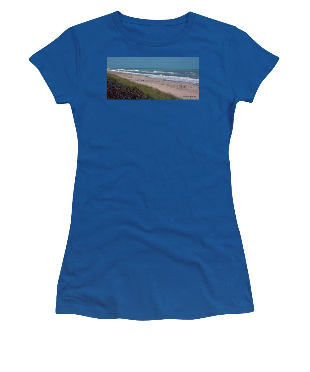 Ocean Women's T-Shirt featuring the digital art Distant Pier by DigiArt Diaries by Vicky B Fuller