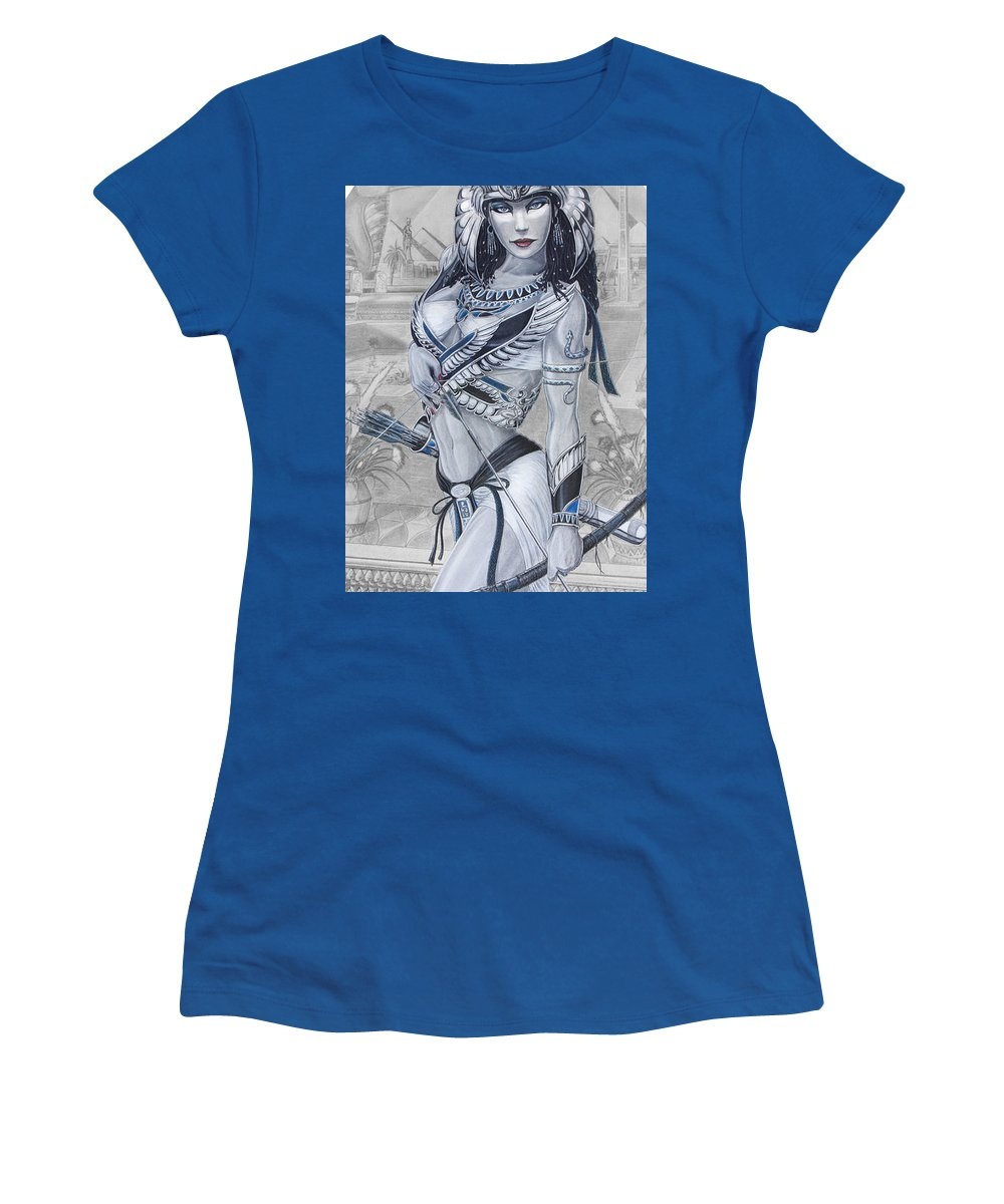 #egypt Women's T-Shirt (Athletic Fit) featuring the drawing Ejo Nefersati by Kristopher VonKaufman