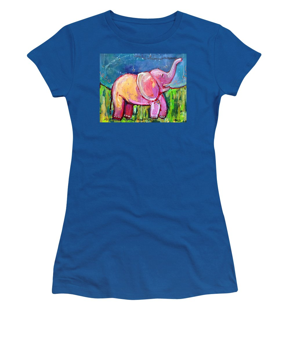 Elephant Women's T-Shirt featuring the painting Emily's Elephant 2 by Laurie Maves ART