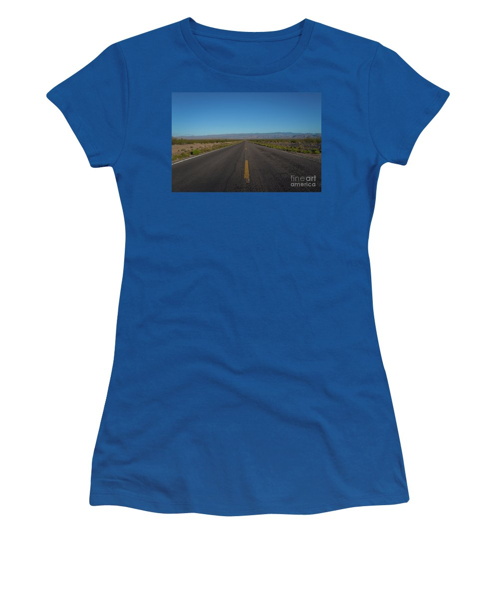 Endless Road Women's T-Shirt (Athletic Fit) featuring the photograph Endless Road by Michael Ver Sprill