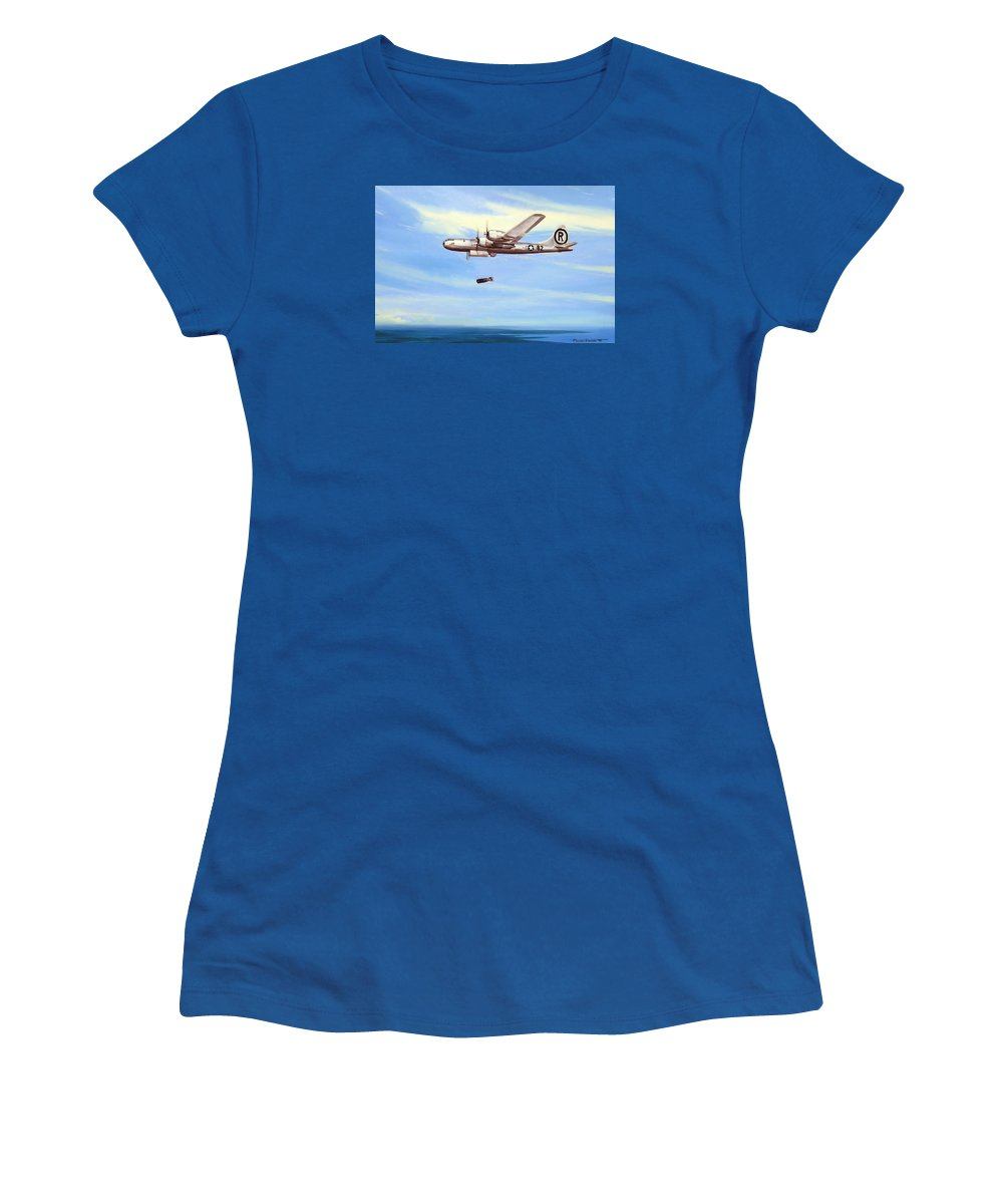 Military Women's T-Shirt (Junior Cut) featuring the painting Enola Gay by Marc Stewart