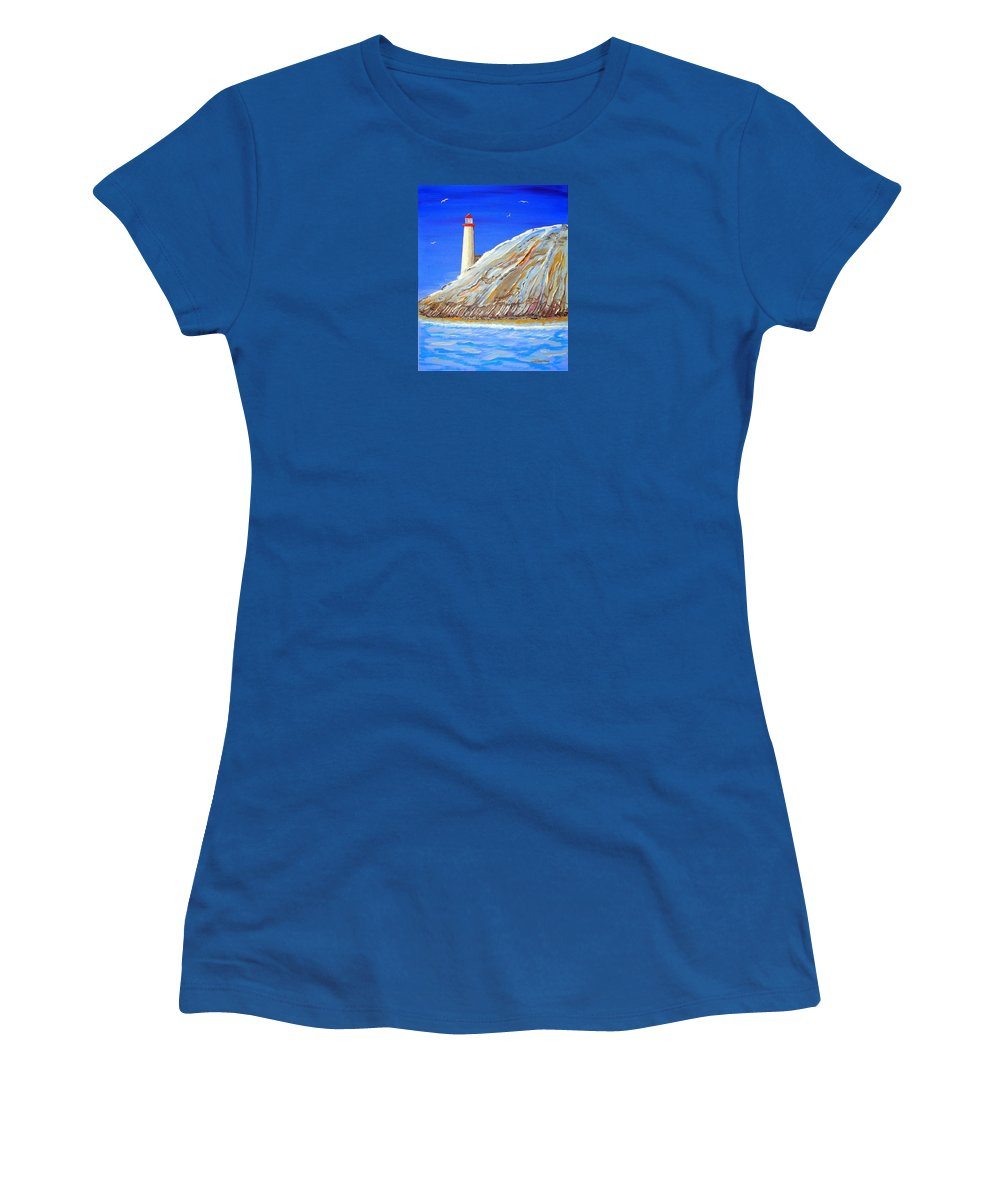 Impressionist Painting Women's T-Shirt featuring the painting Entering The Harbor by J R Seymour