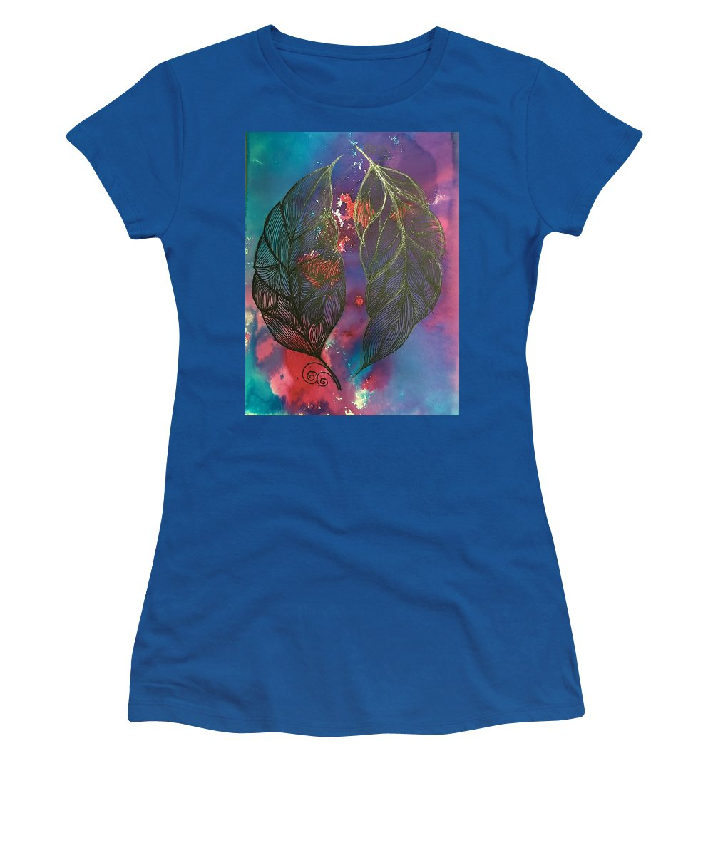 Lotus Women's T-Shirt featuring the painting Feathers by Sonal Kanakdande