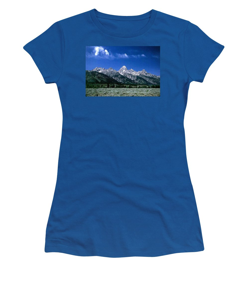 Mountains Women's T-Shirt featuring the photograph First View Of Tetons by Kathy McClure
