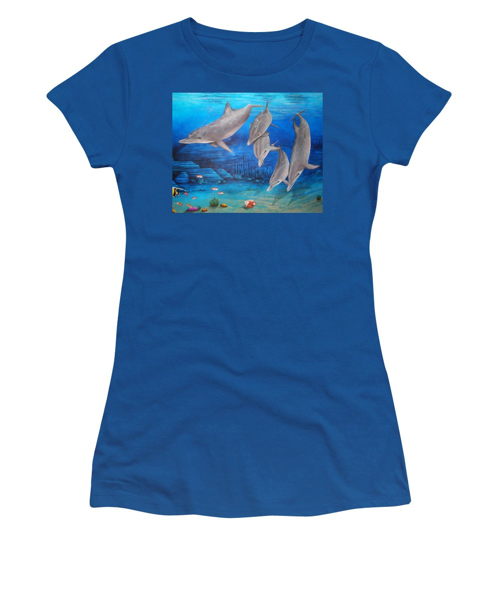 Dolphin Women's T-Shirt (Athletic Fit) featuring the painting Five Friends by Cindy D Chinn