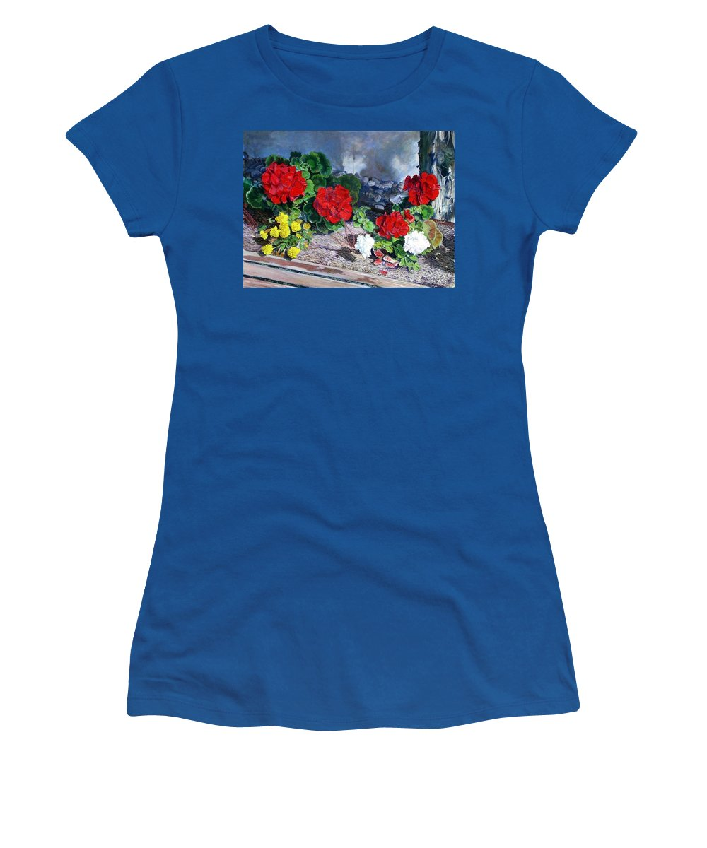 Colorful Flowers Outside Of The Church Women's T-Shirt (Athletic Fit) featuring the painting Flowers At Church by Scott Robertson