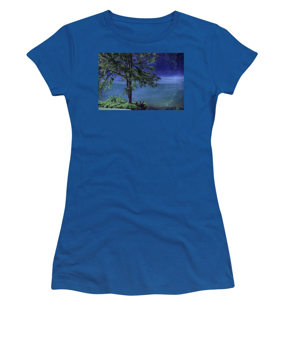 Landscape Women's T-Shirt (Athletic Fit) featuring the photograph Fog Over The Pond by Susanne Van Hulst