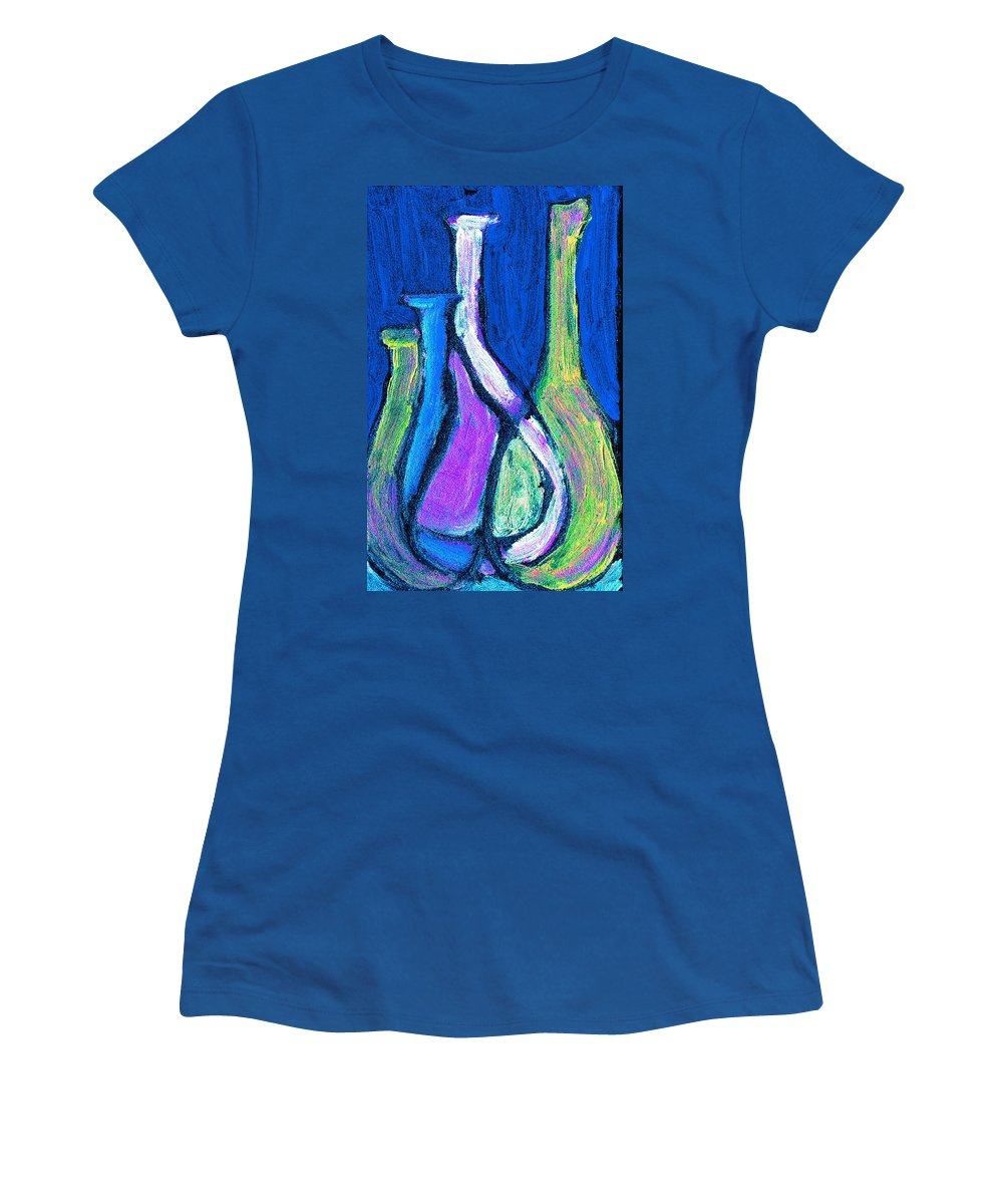 Abstract Women's T-Shirt (Athletic Fit) featuring the painting Four Bottle Abstract by Wayne Potrafka