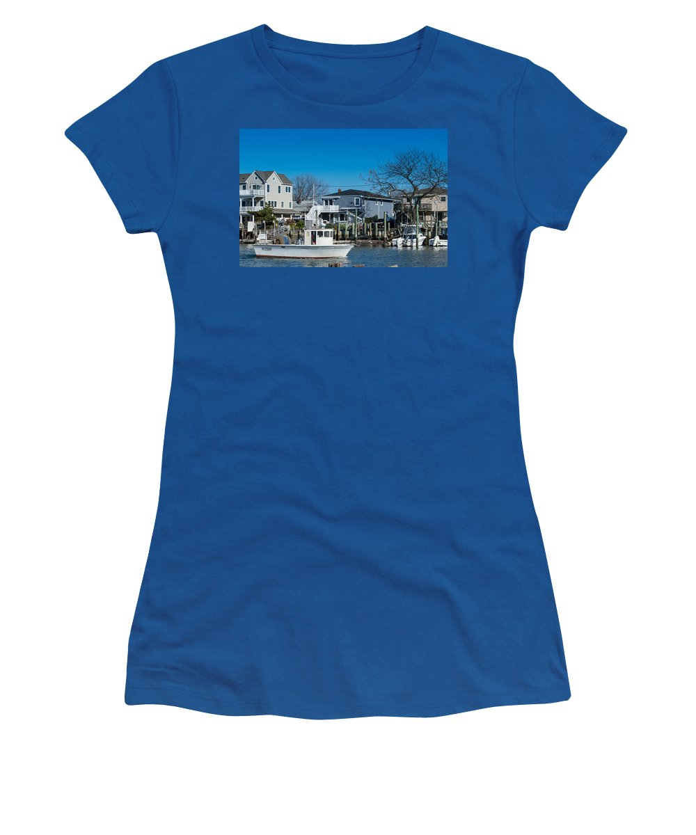 Freeport Women's T-Shirt (Athletic Fit) featuring the photograph Freeport New York Bound For The Bay by JG Thompson