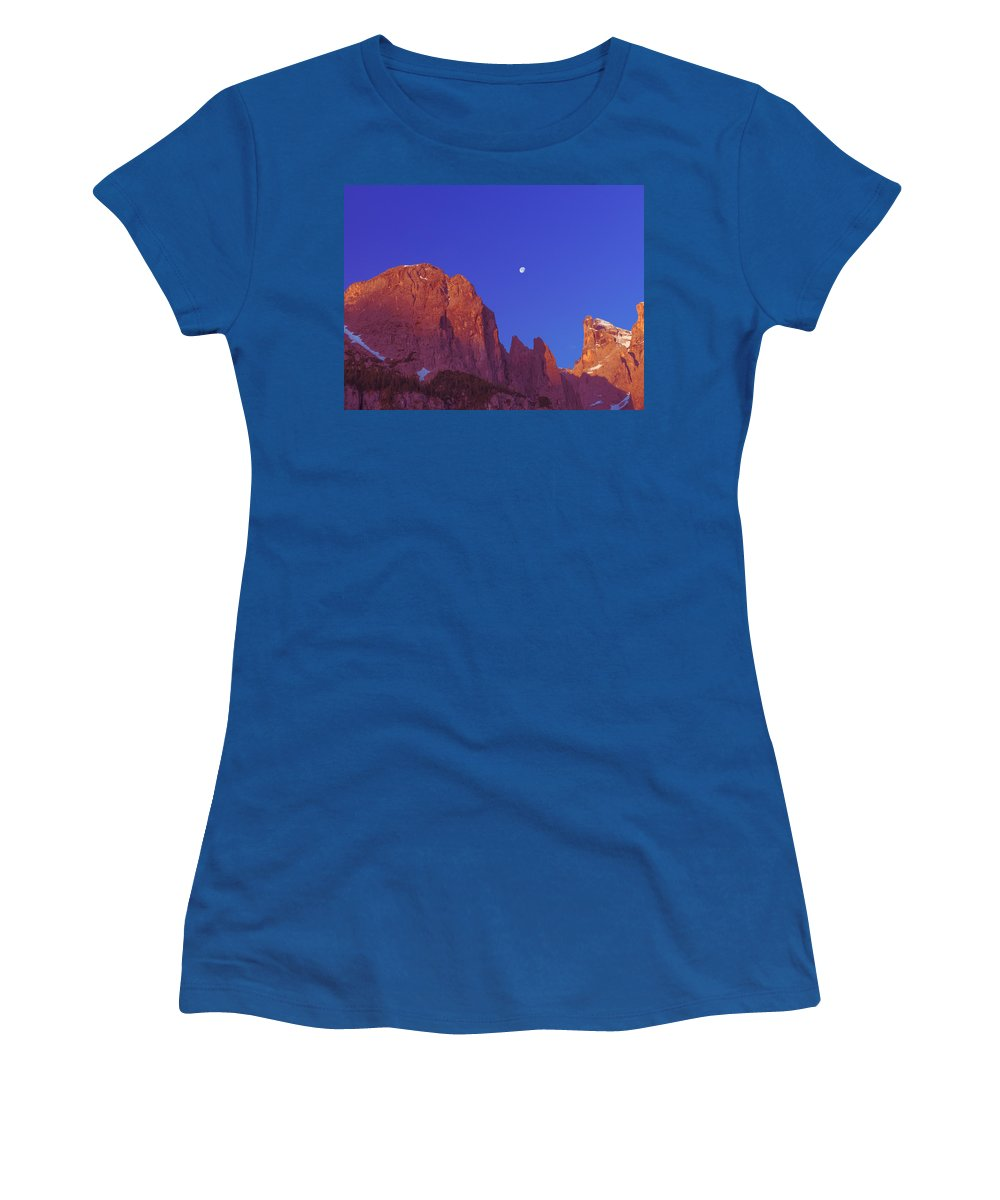 Mountains Women's T-Shirt featuring the photograph Full Moon At Dawn In The Dolomites by Elizabetha Fox