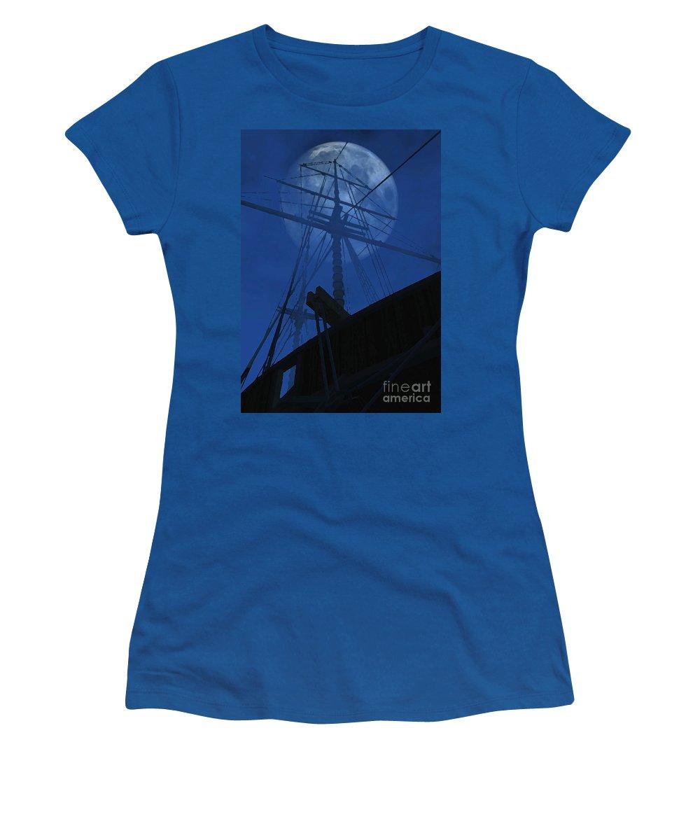 Ghost Ship Women's T-Shirt featuring the digital art Ghost Ship by Richard Rizzo