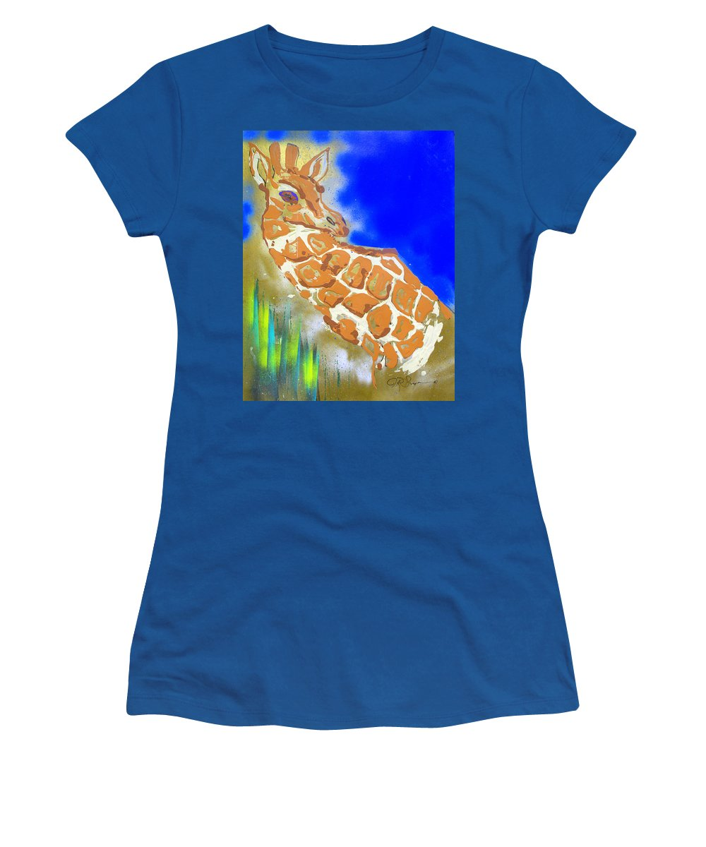 Giraffe Women's T-Shirt (Athletic Fit) featuring the painting Giraffe by J R Seymour