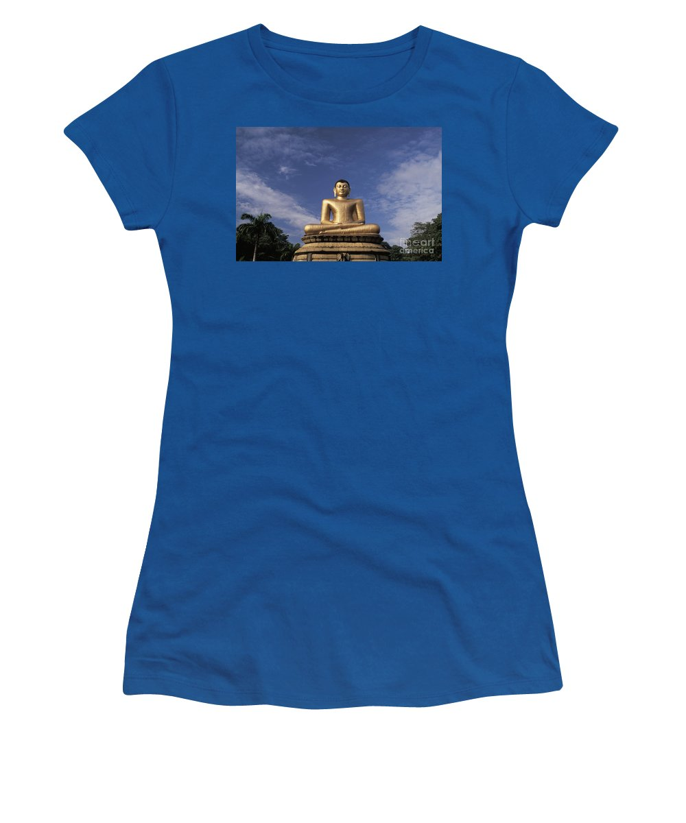 Asian Art Women's T-Shirt featuring the photograph Golden Buddha by Larry Dale Gordon - Printscapes