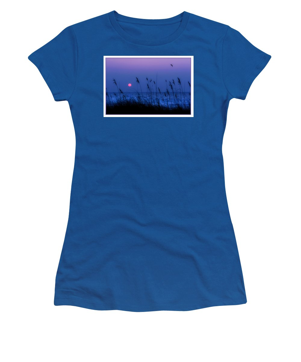 Grass Women's T-Shirt (Athletic Fit) featuring the photograph Grasses Frame The Setting Sun In Florida by Mal Bray