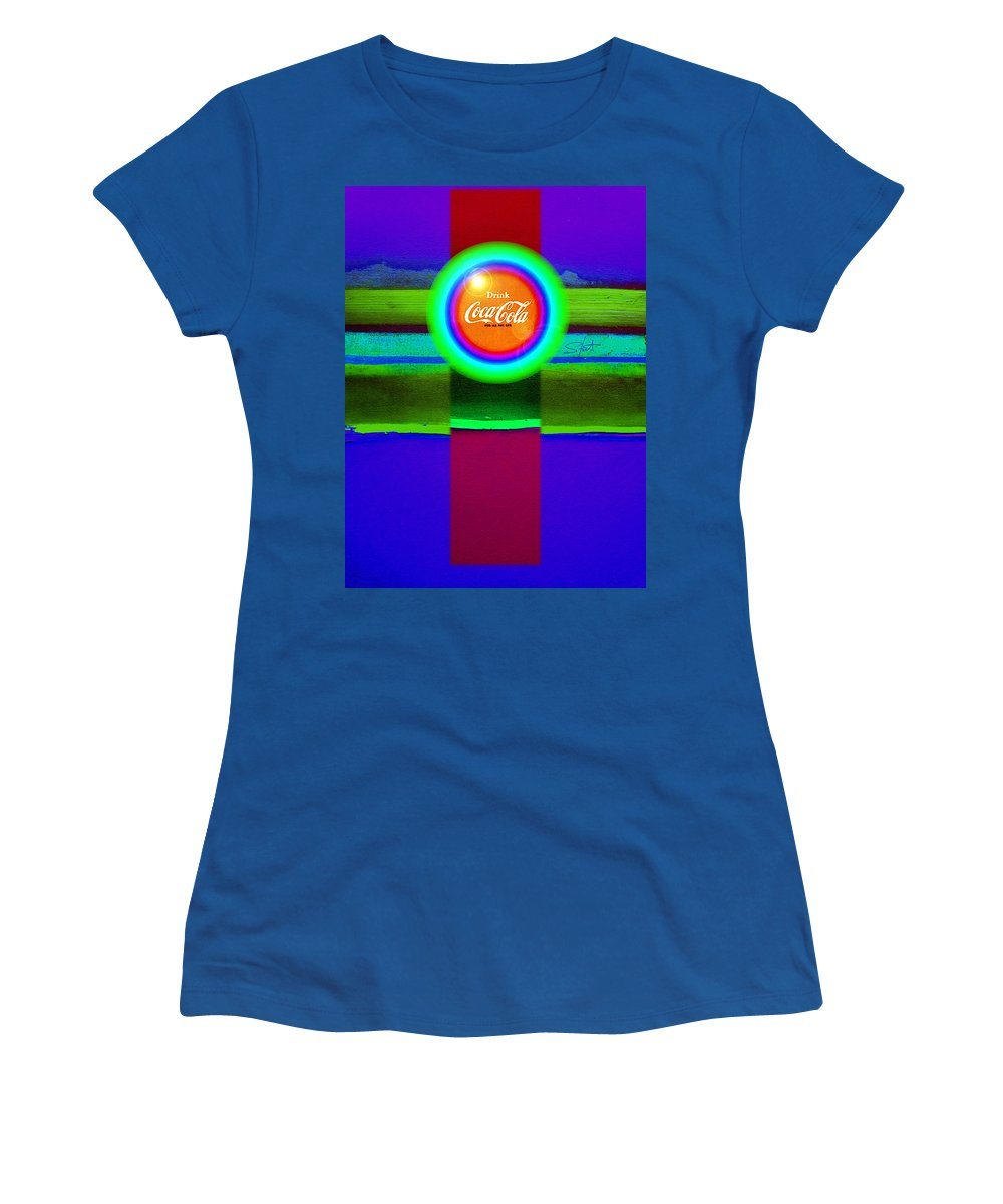 Violet Women's T-Shirt featuring the painting Green On Violet by Charles Stuart