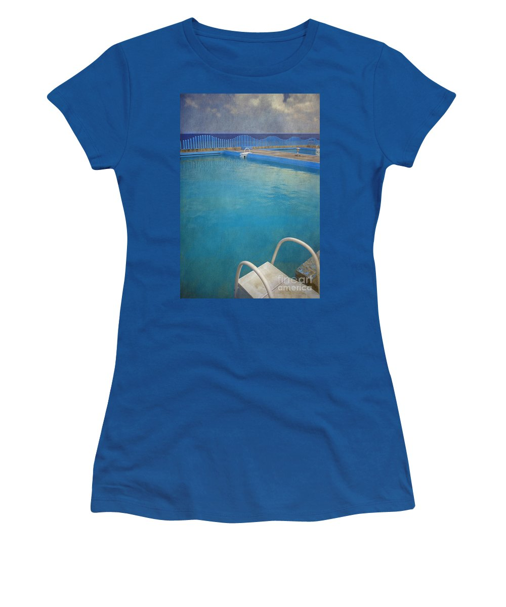 Havana Women's T-Shirt (Athletic Fit) featuring the photograph Havana Cuba Swimming Pool And Ocean by David Zanzinger