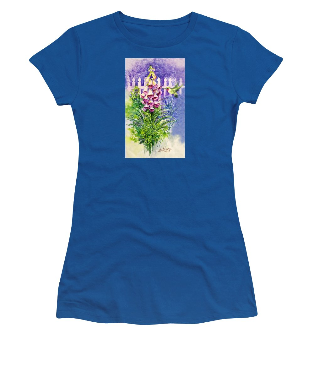 Bird;hummingbird;foxgloves;flowers;floral;fence;picket Fence;impressionistic;watercolor;painting; Women's T-Shirt (Athletic Fit) featuring the painting Hummingbird In Foxgloves by Lois Mountz
